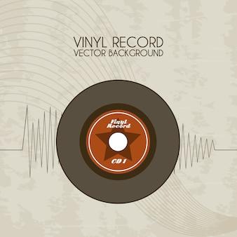 ビンテージの背景の上にビニールのレコードアイコン