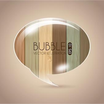 木製の背景ベクトルのイラスト以上のバブルのデザイン
