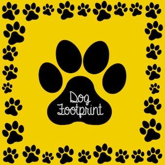 黄色の背景にイヌの足跡ベクトル図