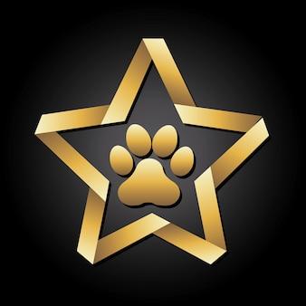Собака след на черном фоне векторной иллюстрации