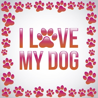 私は灰色の背景の上に私の犬を愛するベクトル図