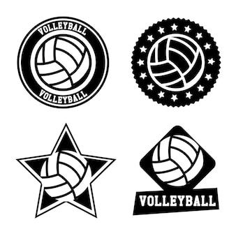 バレーボール、シール、白、背景、ベクトル、イラスト