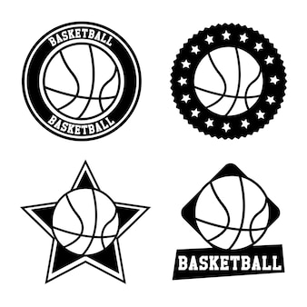 バスケットボール、シール、白、背景、ベクトル、イラスト