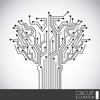 灰色の背景ベクトル図上のアイコン回路