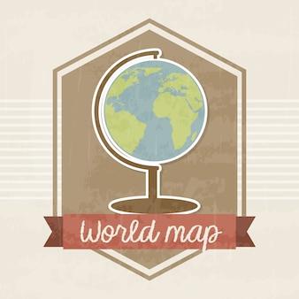 ヴィンテージバックラウンドのベクトル図上の世界地図フレーム