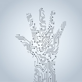 灰色の背景の上に手の回路ベクトル図