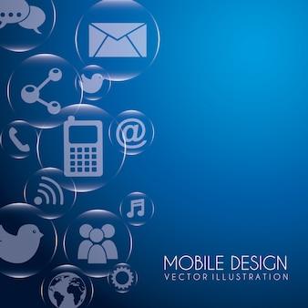 Мобильный дизайн на синем фоне векторной иллюстрации