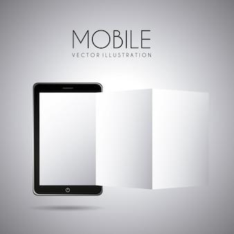 灰色の背景ベクトル図上のモバイルデザイン