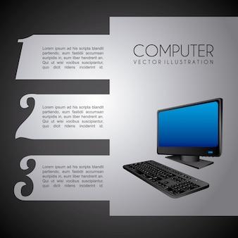 黒背景ベクトル図上のコンピュータデザイン