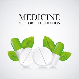 灰色の背景に薬のデザインベクトル図