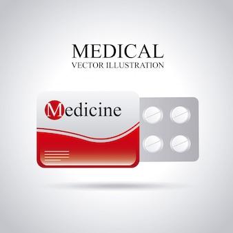 灰色の背景ベクトル図上の医療アイコン
