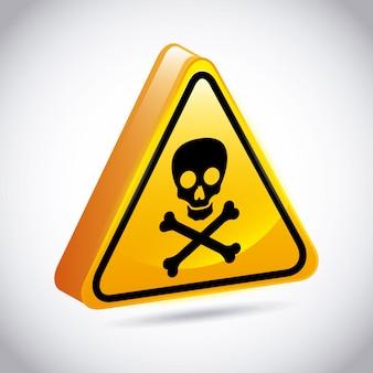 灰色の背景ベクトル図上の警告デザイン
