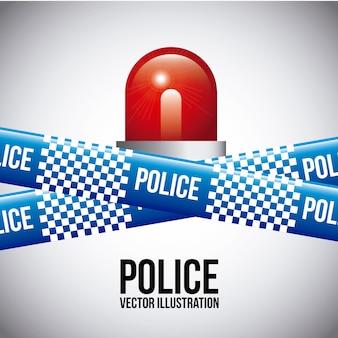 灰色の背景ベクトルのイラストを介して警察のテープ