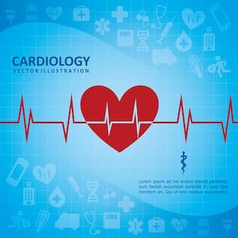 心臓学デザイン、青、背景、ベクトル、イラスト