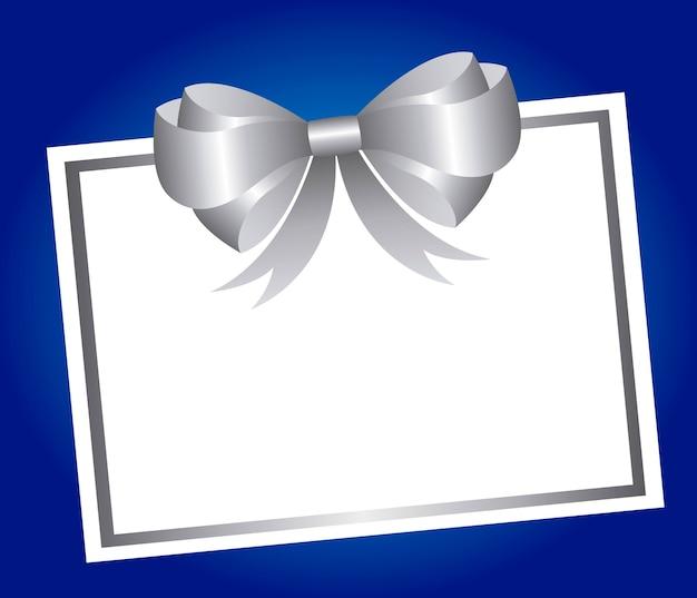 青の背景ベクトルの上に銀の弓と空のカード