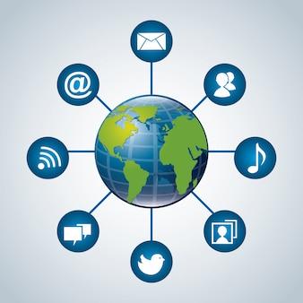 青い背景の上のコミュニケーションの世界