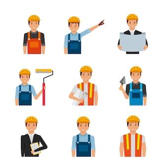 Портреты строителей с униформой и инструментами