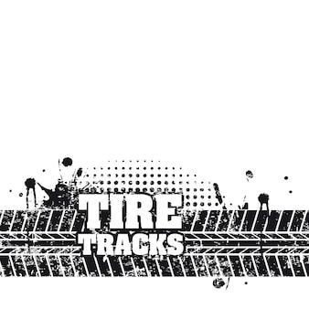 白い背景のベクトル図の上にタイヤのトラック