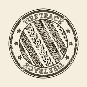 ピンクの背景を持つタイヤの軌跡ベクトル図