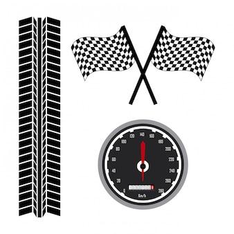 Значки гонки на белом фоне векторные иллюстрации