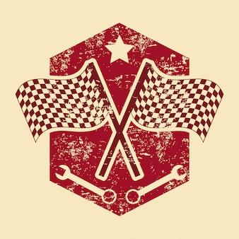 クリーム色の背景ベクトル図の上に市松模様の旗