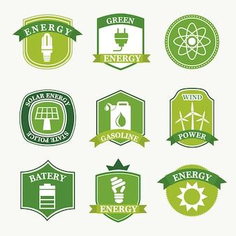 Ярлыки энергии на зеленом фоне векторные иллюстрации