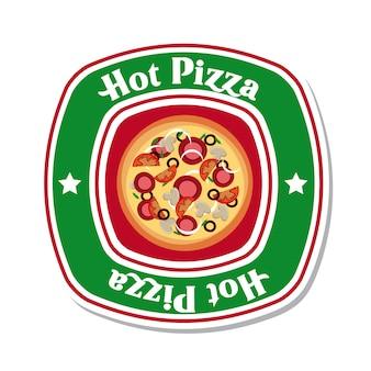 白い背景ベクトル図の上のホットピザ