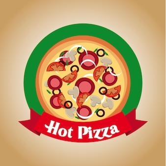ヴィンテージの背景ベクトル図の上にピザのデザイン