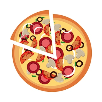 ピザ、デザイン、白、背景、ベクトル、イラスト