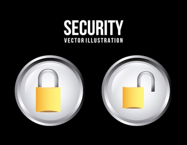 黒背景ベクトル図上のセキュリティボタン
