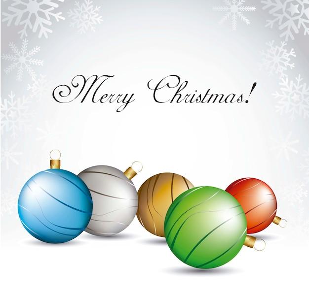 灰色の背景上にクリスマスボールベクトル図