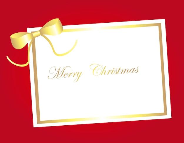 赤い背景ベクトルの上にゴールドブランクカードクリスマス