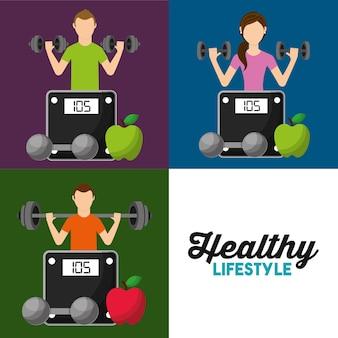 健康的なライフスタイルは人々の体重スケールの果物を設定