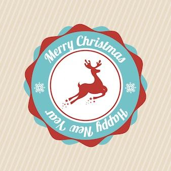 メリークリスマスと幸せな新年の直線的な背景のベクトル図