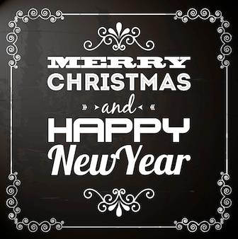 メリークリスマスと幸せな新年、黒背景ベクトル図