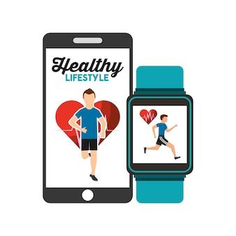 健康的なライフスタイルスマートフォンとスマートウォッチアプリ