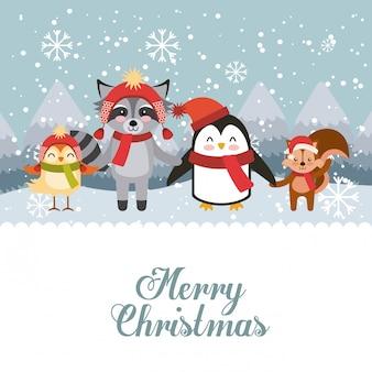 Симпатичные животные веселого рождества изолированные значок