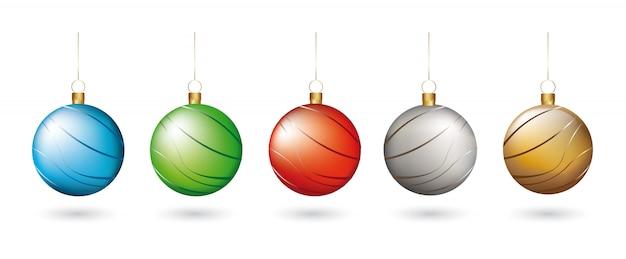 クリスマスボール、白、背景、ベクトル、イラスト