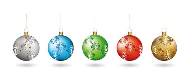 白い背景ベクトル上の雪片とクリスマスのボール
