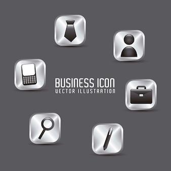 灰色の背景の上にビジネスアイコンベクトル図