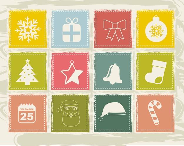 ベージュの背景のベクトル図の上にヴィンテージクリスマスのアイコン