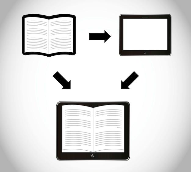 灰色の背景ベクトル図を介して電子ブックのダウンロード