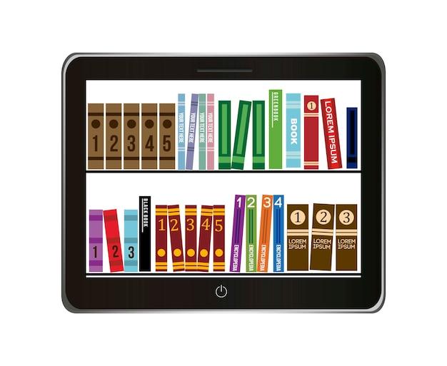 Концепция библиотеки электронных книг на сером фоне векторных иллюстраций