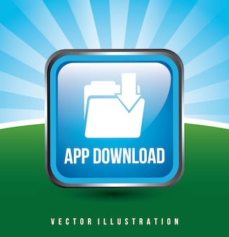 背景ベクトルのイラストの上に青のダウンロードアプリボタン
