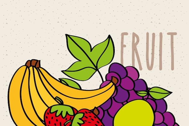 バナナストロベリーブドウとレモン果実のバナー