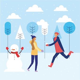 幸せな冬の人々休暇
