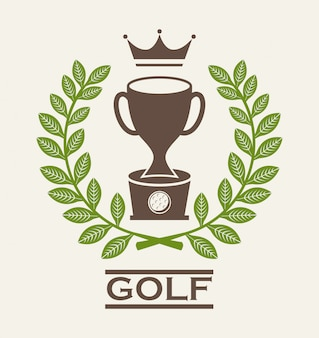 ベージュの背景の上にゴルフのデザインのベクトル図