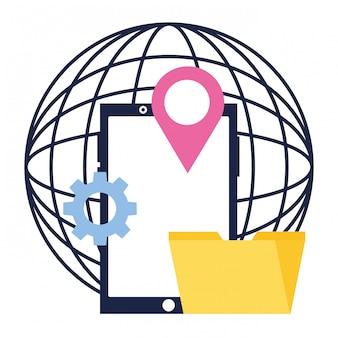Мир мобильной папки местоположение социальных сетей
