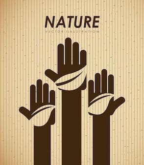 ベージュの背景ベクトルのイラスト以上のエコロジーデザイン
