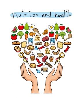 健康的な食事、白背景ベクトルイラスト